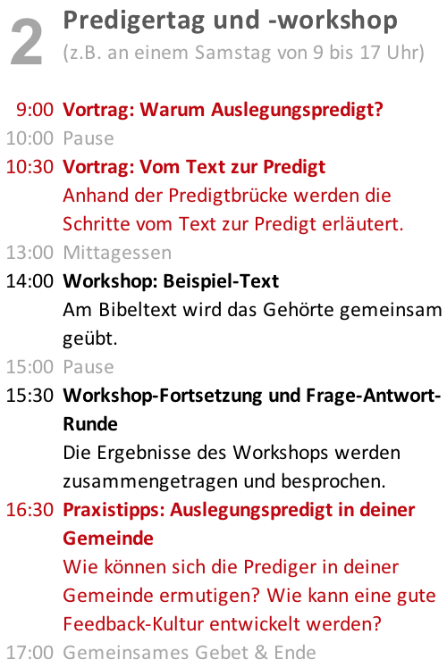 <strong>Predigertag und -workshop</strong>