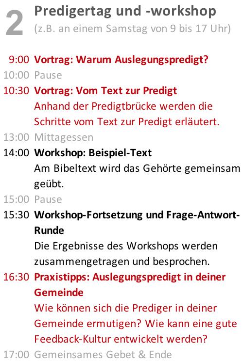 <strong>Predigertag und -workshop</strong>